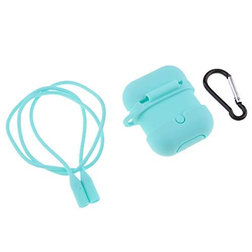 Baoblaze Tragbar Flexible Wrap-Around-Design, Weiche Gummi Shockproof Case Schutzhülle Hülle mit Haken und Verlorene Seil für AirPods - Blau -