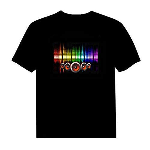 Lepeuxi Camiseta LED Flash Activado por Voz para Hombre y Mujer Party Rock Disco Night Club
