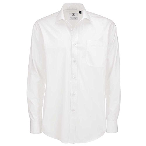 B&C Collection Smart Long Sleeve Shirt White