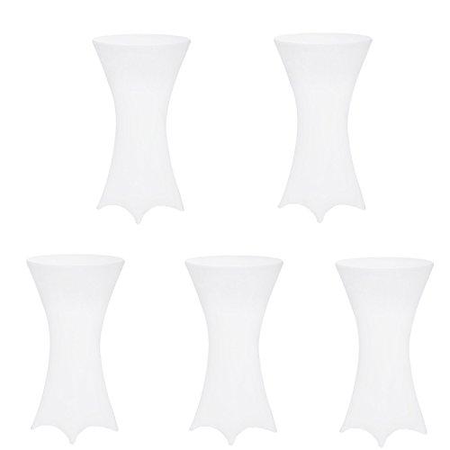 SAILUN 5 Stück Stehtischhusse Tischhussen, Tischdurchmesser Ø 60-80cm im Weiß, Eleganter Tischüberzug für Stehtische Bistrotisch Tisch (Ø 70 cm, Weiß) (Hussen Stück Ein)