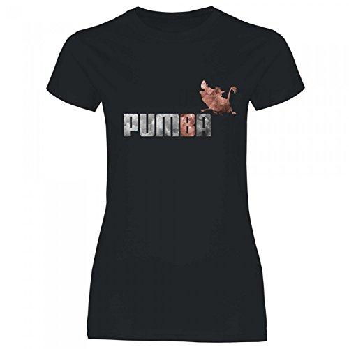 Royal Shirt rs90 Damen T-Shirt Pumba | lustiges, Cooles Funshirt, Geschenkidee, Größe:M, Farbe:Black (Pumba Kostüm König Der Löwen)