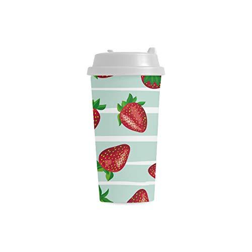 Natürliche rosafarbene Frucht Druck Erdbeer Gewohnheits Druck 16 Unze Doppelwand Plastikisolierte Sportwasser Flaschen Schalen Pendler Reise Kaffeetassen für Studenten Frauen Milch Teacup Getränk