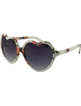 Años 50Estilo Floral Print Retro corazón gafas de sol