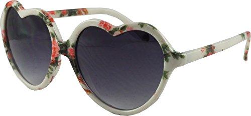Revive Eyewear Fifties-Stil Blumen Print Retro Herz Sonnenbrille, 30020 WH