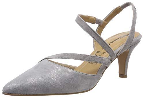 Tamaris Damen 1-1-29604-22 Slingback Pumps, Grau (Grey/Silver M. 292), 39 EU - Suede Slingback Schuhe