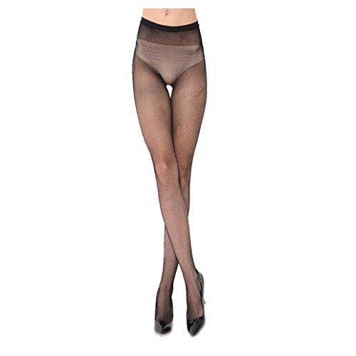 Stretch-große Loch-fischnetz-strumpfhose (Ularma Fashion Tights Damen Schwarz Mesh Fischnetz Strumpfhose High Waist Spitze Strümpfe (C))