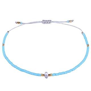 KELITCH Armband Frauen Männer Japanischen Rocailles Delicate Stein Freundschaftsarmbänder Handmade Einstellbare String Armreif Bettelarmband Armbänder (Hellblau)