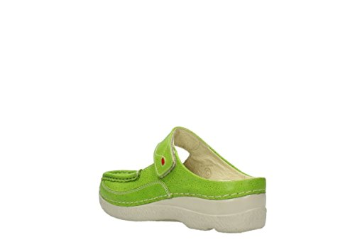 Wolky Roll Slipper 6227 Roll Slipper 90750 lime dots nubuck