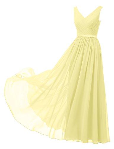 Alicepub A-Linie Chiffon Brautjungfernkleider Abendkleider Lang Ärmellos Ballkleider, Gelb, 50