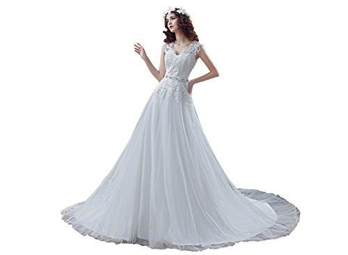 Ikerenwedding Damen Empire Kleid Weiß