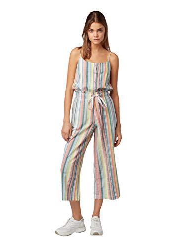 TOM TAILOR Denim Damen Jumpsuit, Mehrfarbig (Multicolor Vertical 16598), Herstellergröße: XX-Large - Fit Bootcut Cord