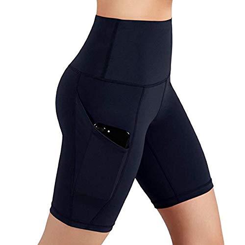 2 Pack Fashion Legging (Damen Sport Kurz Leggings, Yoga Tights Shorts, Blickdicht Figurformend Übergroße High Wasit Stretch, 1 bis 2 Pack, mit Tasche L09)