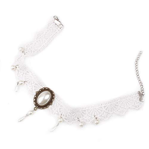 Black Lace Choker (SAMGU Hochzeit Party Black Lace Choker Perlen Kette Anhänger Halskette Armband für Frauen)