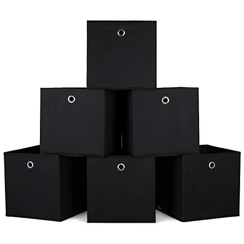Homfa 6er Aufbewahrungsbox Stoff Set Faltbox Aufbewahrungskorb Regalbox Regalkörbe Ordnungsbox Stoffbox Kiste Aufbewahrung für Kallax 30x30x30cm schwarz - Regal Box