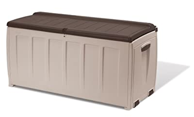 Keter 17185300 Kissenbox Storage Box with seat 340L, Kunststoff, beige / braun