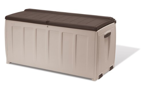 Waterproof Garden Seat Storage Box Container Outdoor Garden Furniture, 340 L - Beige/Brown
