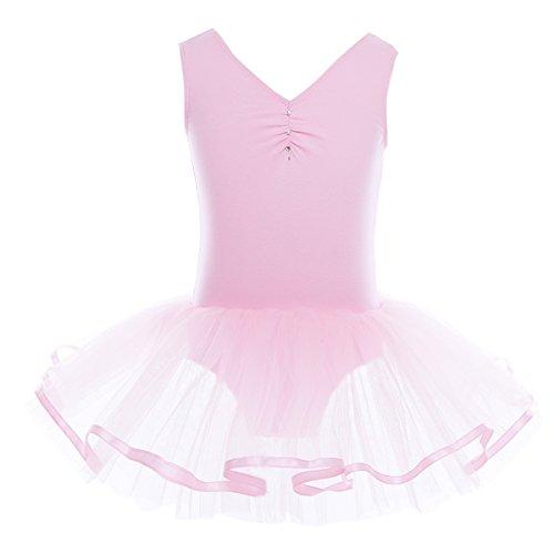 iiniim Mädchen Kleider Ballettkeider Ballettanzug Turnanzug Trikot Tanz Leotard Kleider mit Tüll Rock Rosa Stil A 128-140 / 8-10 (Rosa Ballett Kostüm)