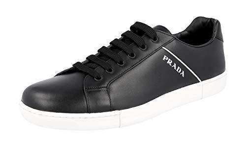 Prada 4E3340 6DT F0967 Herren Sneaker aus Leder, Schwarz (Nero Bianco), 43 EU M