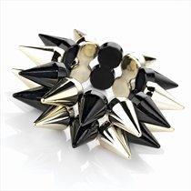 Black and gold colour spike design elastic bracelet