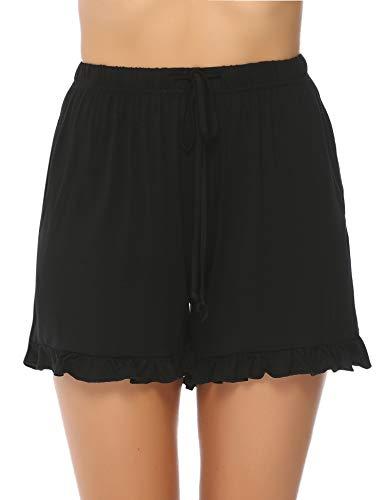 Hawiton Damen Schlafanzughose Pyjamahose Kurz Baumwolle Nachtwäsche, Uni-schwarz, Gr.- XL