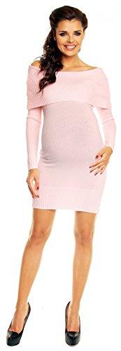 Zeta Ville Maternité - Robe en maille de grossesse style bardot - femme 909c Poudre Rose