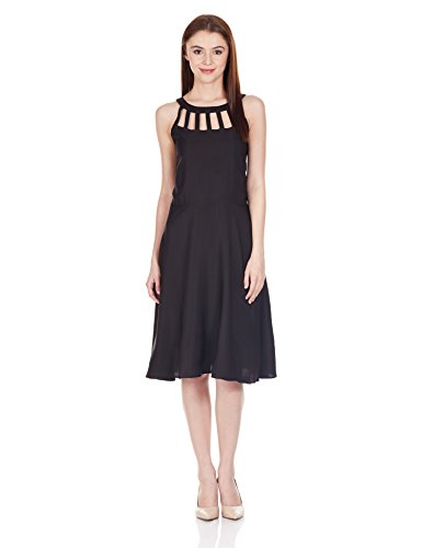 Harpa Women's Cut-Out Dress (GR2149_Black_S)  available at amazon for Rs.455