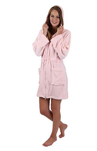 Betz Bademantel Morgenmantel Saunamantel Damen mit Kapuze und Reißverschluss Farben Creme, türkis, rosa und blau Größen XS - L Größe S/rosa