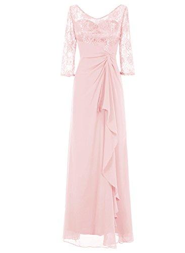 Bbonlinedress Lang Chiffon Lace Ruched Cocktail Hochzeit Frauen Kleid Rosa