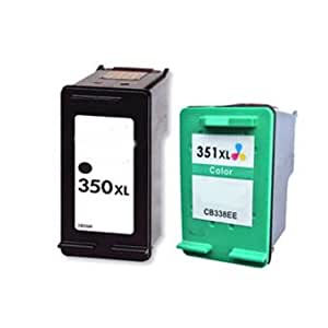 HAUTE CAPACITE : 2 Cartouches d'encre remanufactur�e HP 350XL Noir(C336EE) + 351XL couleur(CB337EE)