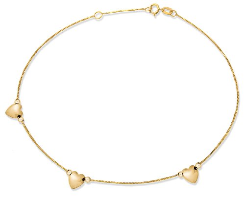 Carissima Gold Women's 9 ct Yellow Gold Three Heart Box Heart Anklet
