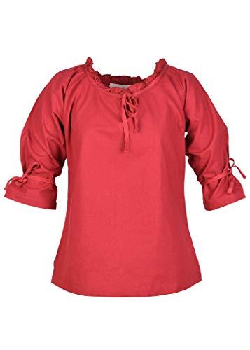 Battle-Merchant Mittelalter Bluse Birga aus Baumwolle mit 3/4 Arm - Mittelalter Kleidung Damen (XX-Large, Rot)