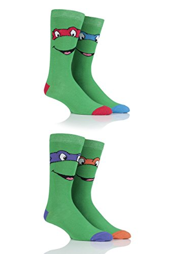 Herren 4 Paar SockShop Teenage Mutant Ninja Turtles Baumwollsocken - Grün (Zu Ninja Kämpfen Turtles)