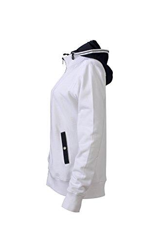James & Nicholson Damen Hooded Jacket Sweatshirt Weiß (White/Navy)