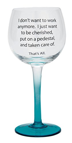 I don 't want to Work Ergab blau ombre Wein Glas, 73/10,2cm, 12oz