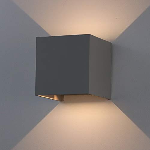 K-Bright 7W LED Wandleuchte draussen/innen,IP65, oben und unten Design dekorative Wandlampe,Cube Wandbeleuchtung/Nachtlicht,Dunkelgraue, warmweiß -