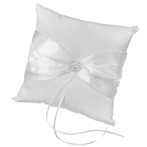 Satin bowknot Strass Hochzeit Party Tasche Ringkissen (Weiß) (Hochzeit Ring Aufnahmen)