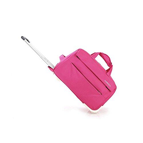 YAN Gepäcktasche mit Hebel Gepäcktasche Übergroße Leinwand Weekender Bag Reisetasche Herren Duffle Bag für Frauen & Männer mit separaten Schuhfach (Color : Rosa, Style : Small) -