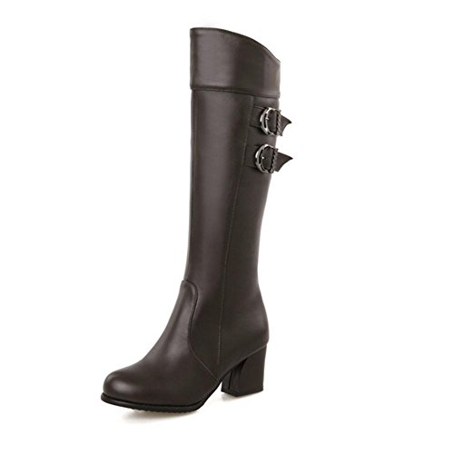 H H Vier Jahreszeiten Frauen (braun.) Schwarz. Red. (weiß) Doppel-Gürtel Schnallen Gummi Schuhe High Heel Stiefel , brown , 40 (Sandale Leder Doppel Schnalle)