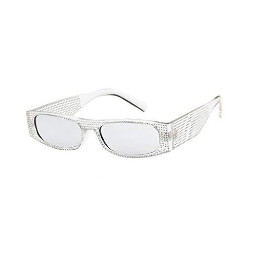 jgashfPolarisiert Sonnenbrille,Strass ÜBergroßEn Brille Damen Diamant Quadratischen Rahmen Kristall Sonnenbrillen Retro GroßEn Rahmen Shades Eyewear (B)