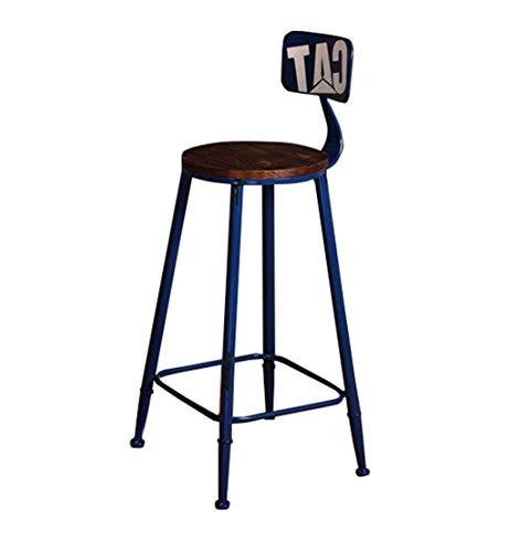 SEEKSUNG Stuhl, Barhocker Retro Industrie Stil Hocker High Back Hocker Zähler Hohe Stühle für Familie und Geschäfts-Blau, 85cm -