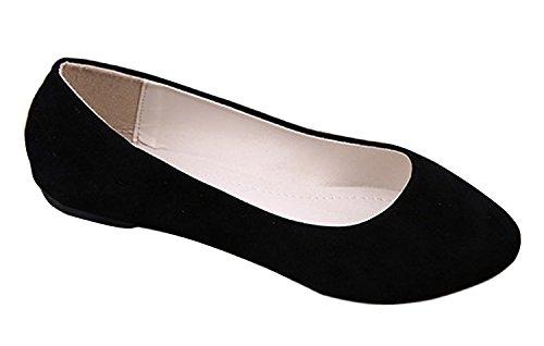 Minetom Damen Maedchen Flach Freizeit Business Schuhe Mokassins Mädchen Schule Dolly Schuhe ( Schwarz EU 39 ) (Dressy Mädchen Sandalen)