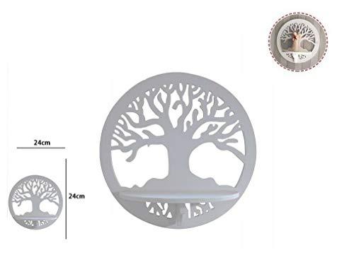 Takestop® mensola ripiano fantasia albero della vita legno bianco 24x13cm rf_65369 portachiavi porta oggetti scaffale muro parete shabby design arredo casa