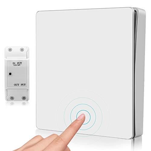 MOSFiATA Funkschalter Set, Lichtschalter Kinetische Wandschalter Batterielos Wasserdicht Wireless 170M Funkreichweite mit Empfänger Wippschalter 55 Jahre Benutzbar, 10A -