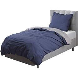 Aminata Kids - Wende-Bettwäsche-Set 155-x-220 cm Uni-Farben-Motiv Zwei-farbig-e 100-% Baumwolle Renforce hell-grau-e dunkel-blau-e
