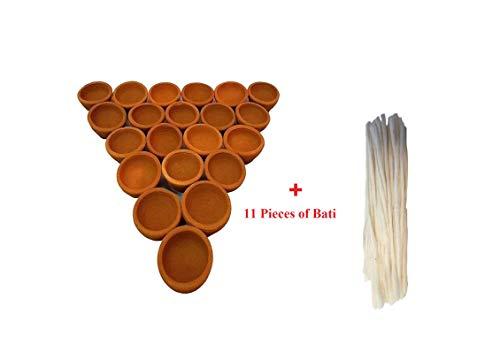 Diwali/Dipawali Hand Made Clay lamp-Deepak (Diyas)-Set with Diya Batti (11)