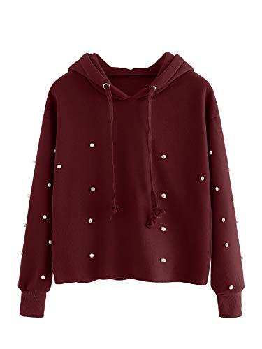 DIDK Damen Hoodie Kapuzenpullover Einfarbig Langarm Kapuze Pullover Sweatshirt Casual Pulli mit Perlen Bordeaux M