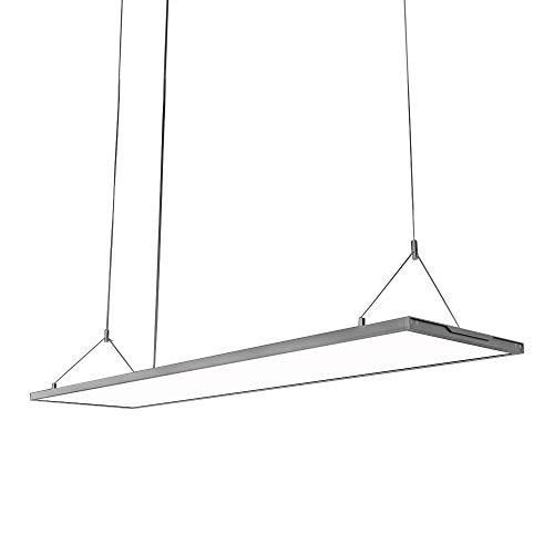 KJLARS LED Pendelleuchte Dimmbar Hoehenverstellbar Hängeleuchte Pendellampe für Büro LED Panel Hängelampe, für esstisch Büroleuchte Schlafzimmerleuchte Wohnzimmerlampe (120cm*30cm)