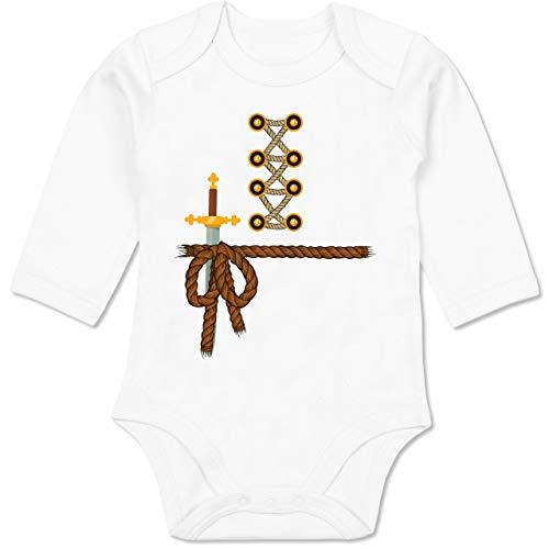 Shirtracer Karneval und Fasching Baby - Ritter Kostüm Fasching - 12-18 Monate - Weiß - BZ30 - Baby Body Langarm (Schwert Kämpfer Kostüm)