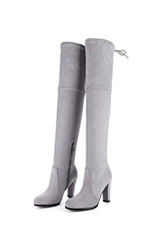 QIN&X Donna ruvida tacco alto alto sopra il ginocchio lunghi stivali scarpe Rice White