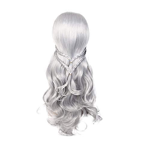 QHJ Perücke Für Damen, Game of Thrones Cosplay Drachenmutter 30 Zoll Lange Lockige Gewellte Synthetische Haar Frauen Mädchen Perücken für Kostüme - Braunes Lockiges Haar Kostüm
